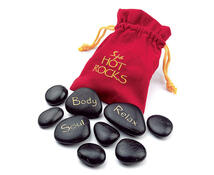 Masážní lávové kameny velké - červený sáček