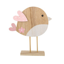 Pasăre din lemn cu aripi roz 22 cm