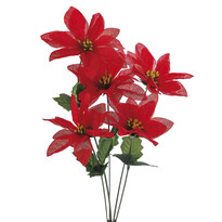 Umělá květina poinsettie, 3 ks
