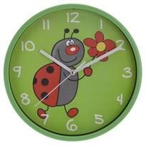 Nástenné hodiny Ladybird zelená, 23 cm