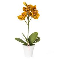 Sztuczna orchidea w doniczce, pomarańczowa