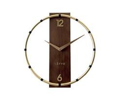 Nástenné hodiny Lavvu Compass Wood zlatá, pr. 31 cm