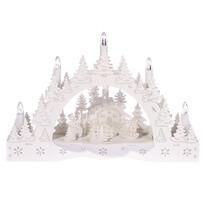 Vianočný LED svietnik Zimná krajina, kostol a kŕmidlo