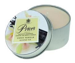 Price´s vonná sviečka v plechu Sladká vanilka, 3 ks