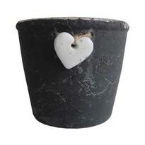 StarDeco Doniczka z sercem czarny, 15,5 cm