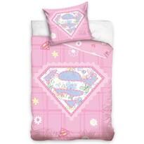 Detské bavlnené obliečky do postieľky Little Supergirl, 100 x 135 cm, 40 x 60 cm