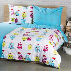 4Home Bavlnené obliečky Zimné sovičky, 140 x 200 cm, 70 x 90 cm