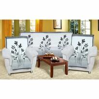Narzuty na kanapę i fotele Karmela Plus Kwiat szary, 150 x 200 cm, 2 szt. 65 x 150 cm