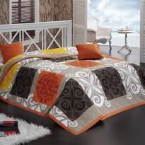 Přehoz Sedef oranžová, 220 x 240 cm, 2x 40 x 40 cm