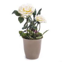 Sztuczny kwiat róży w doniczce kremowa