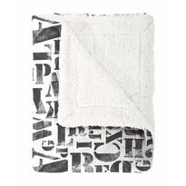 Pătură imitaţie lână Mistral Home Alphabet negru, 130 x 170 cm