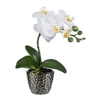 Umělá Orchidej v květináči bílá, 35 cm