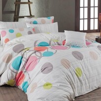Bavlněné povlečení Puntíky růžová, 220 x 200 cm, 2x 70 x 90 cm