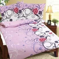 Flanelové obliečky Konvalinka fialová, 140 x 200 cm, 70 x 90 cm