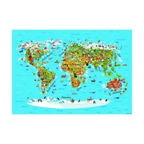 Dětská fototapeta XXL Mapa světa 360 x 270 cm, 4 díly