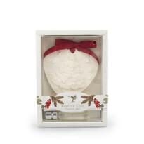 Bożonarodzeniowa glinka zapachowa z olejem Cynamon i jabłko biała, 15 cm