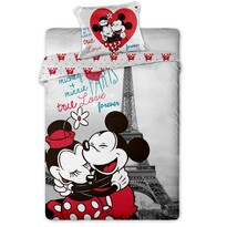 Dětské bavlněné povlečení Mickey a Minnie in Paris140 x 200 cm, 70 x 90 cm