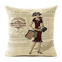 Poszewka na poduszkę-jasiek Gobelin kobieta przed sklepem, 45 x 45 cm