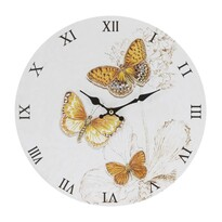 Nástěnné hodiny Butterfly, žlutá