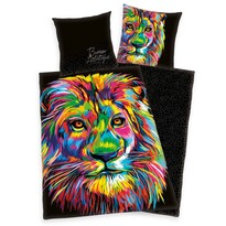 Lenjerie de pat din satin Bureau Artistique - Colored Lion, 140 x 200 cm, 70 x 90 cm