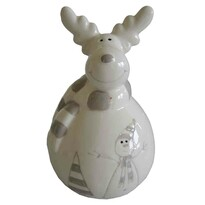 StarDeco Dekorativní Sob se šálou bílá, 13,5 cm