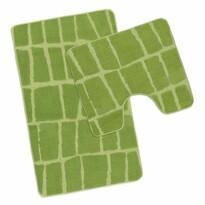 Sada kúpeľňových predložiek Avangard Kostka zelená, 50 x 80 cm, 50 x 40 cm
