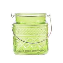 Sklenený svietnik Colours zelená, 13 cm
