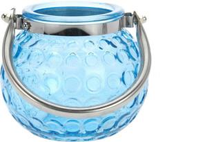 Sklenený svietnik Crystal, modrá