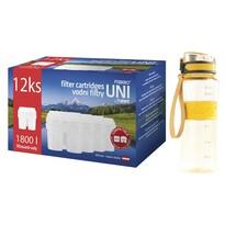 Maxxo Výhodná sada UNI vodní filtry 12 ks + žlutá sportovní láhev