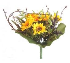 Sztuczna wiązanka słoneczników z lawendą 22 cm