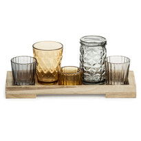Zestaw 5 szklanych świeczników
